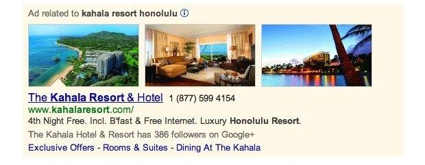 adwords image extensions example hotels